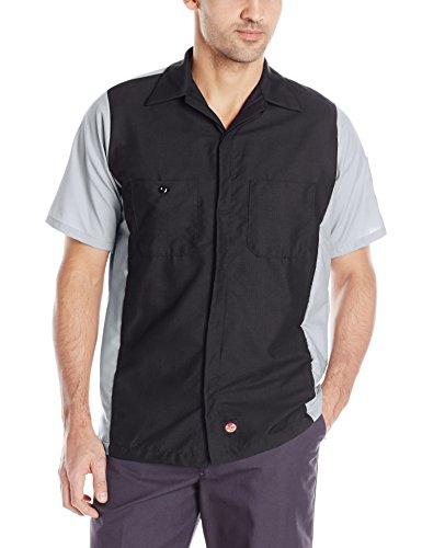 Red Kap Men's Ripstop Crew Shirt, Short Sleeve, Charcoal/Grey, X-Large/Tall