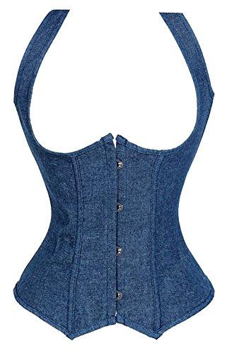 ZAMME Cinturones Cincher de las mujeres y Bustier Corsé Top Halterer Azul