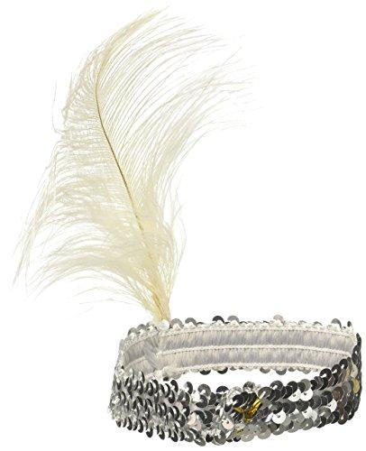 Forum Novelties Silver Flapper Headband with Feather