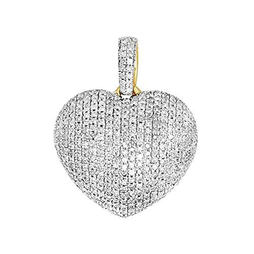 14K Yellow Gold 0.6 Ct Round Cut Natural Diamond Puffed Heart Pendant Necklace Women's