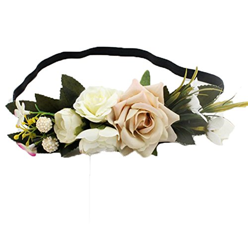 Floral Fall Wedding Beach Rose Holiday Flower Crown Headband Halo Hair Wreath F-86 (Ivory) ()