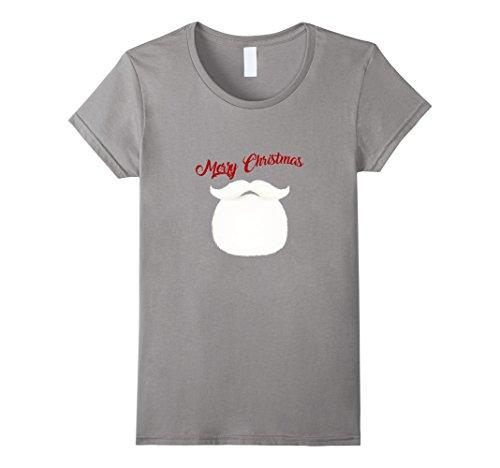[Womens Merry Christmas White Furry Beard Mustache Men Women T-shirt Small Slate] (Full Beard And Mustache Grey)