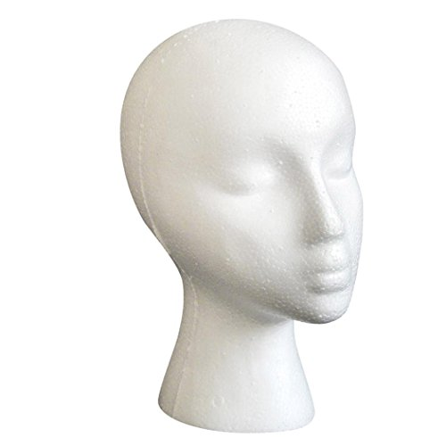 Female Model Head, Inkach Styrofoam Foam Mannequin Female Head Model Dummy Wig Glasses Hat Display - Glasses Dummy