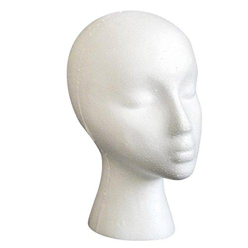 Female Model Head, Inkach Styrofoam Foam Mannequin Female Head Model Dummy Wig Glasses Hat Display - Dummy Glasses