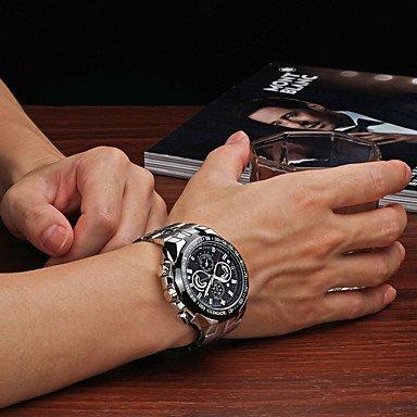 Herrklockor, herrklocka militär klocka klocka män digital klocka remsa klockarmband vattentät nattlucent sport armbandsur herr Vit/Silver