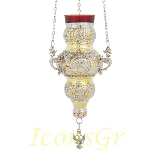 Orthodox Greek Christian Bronze Hanging Votive Vigil Oil Lamp with Chain and Red Glass - 409gn by Iconsgr
