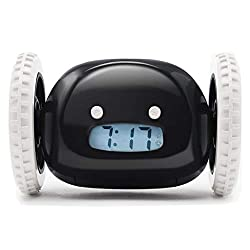 Clocky Alarm Clock on Wheels (Original) | Loudest for Heavy Sleeper (Adult or Kid Bed-Room Robot Clockie) Funny, Rolling, Run-away, Moving, Jumping(Black)