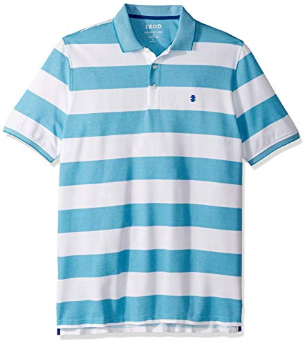 IZOD Men's Big and Tall Advantage Performance Short Sleeve Stripe Polo, Caneel Bay, 2X-Large Tall ()
