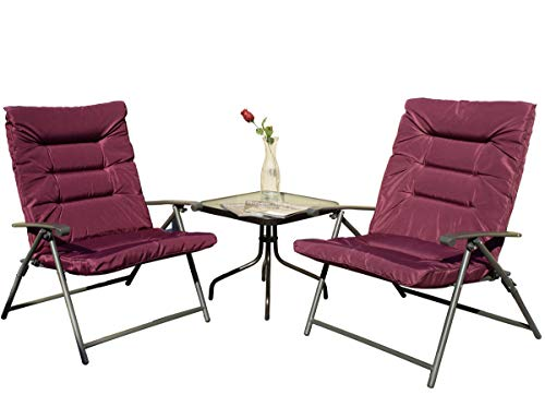 - Kozyard Elsa 3 Pieces Outdoor Patio Furniture Padded Folding Bistro-Sets for Yard, Patio, Deck or Backyard(Purple Red)