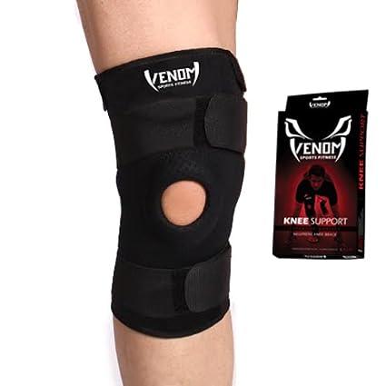 3e898e4384 Venom Knee Brace Neoprene Open Patella Compression Sleeve - Elastic Support  & Adjustable Straps, Meniscus Tear, Arthritis Pain, ACL, Basketball,  Soccer, ...
