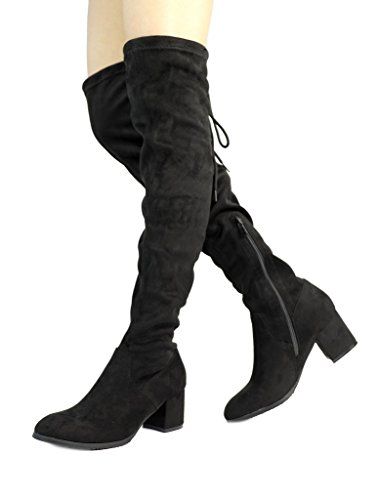 DREAM PAIRS Women's New Portz Black Over The Knee Thigh High Chunky Heel Boots Size 7.5 B(M) ()