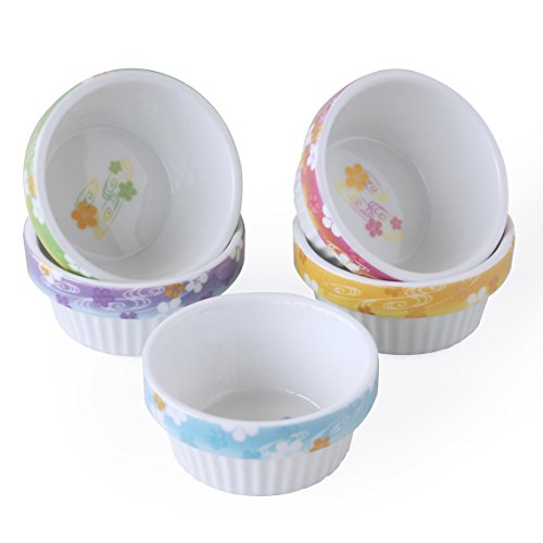 Porcelain Custard Cups - Cinf Porcelain Ramekins Floral 4 oz. Baking Pudding Bowls Dishes Soufflé Cups Dishes, Creme Brulee, Custard Cups, Desserts Set of 5
