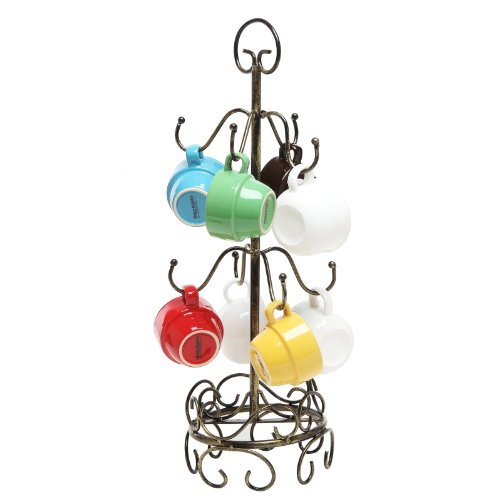 8 Hook Bronze Metal Coffee Mug Tree Air Drying Stand / Tea Cup Rack / Glass Holder -MyGift