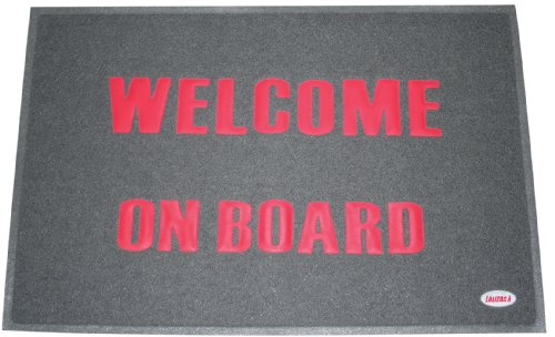 Lalizas PVC Welcome Mat, 15.7 x 23.6-Inch, Grey with Red Text