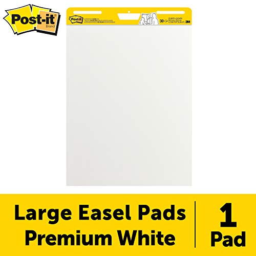 (Post-it Super Sticky Easel Pad, 25 x 30 Inches, 30 Sheets/Pad, 1 Pad (559SS), Large White Premium Self Stick Flip Chart Paper, Super Sticking Power)