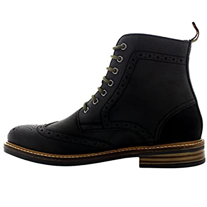 Mens Barbour Belsay Smart Leather Work Office Lace Up Brogue Ankle Boots 2