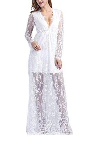Yomoko Sexy Deep V-Neck Long Sleeve Lace Beach Dress See-through Maxi Dress (X-Large, With Linning White)