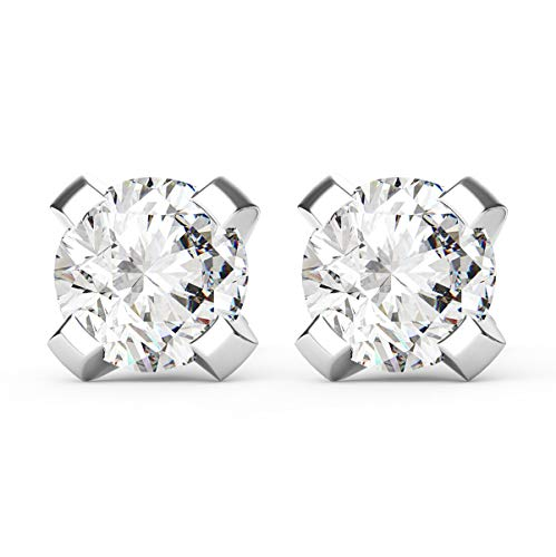Frostrox 14K White Gold 0.10 Carat Round Brilliant Cut White Diamond (J-K Color, SI2-I1 Clarity) Classic Stud Earrings ()