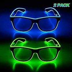 Blue & Green Light Up Glasses Glow in The Dark 2 Packs