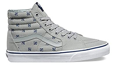 "Vans Men's ""Vans x MLB Yankees Sk8-Hi"" Heather Grey/Yankees Print Skateboard shoe (US 3.5)"