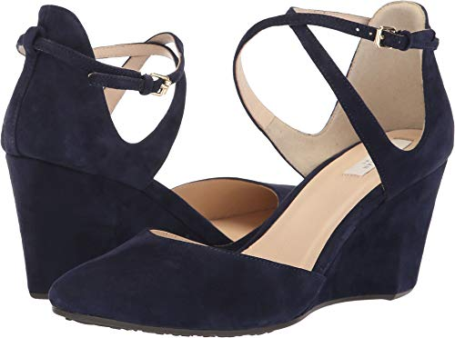 Cole Haan Women's Lacey Wedge Ankle Strap 75mm Marine Blue Suede 6 B US B (M)
