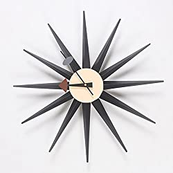 HHYS H663 Black Sunburst Wooden Wall Clock Mid Century Handmade Antique Retro Danish Nelson Style