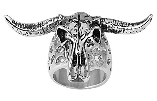 Alimab Jewelery Men's Stainless Steel Rings Sheep Head Silver Black Size 10 (Big Bad Wolf Makeup)