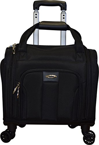 Price comparison product image Kemyer Small 13.5 Inch Rolling Laptop Overnighter - Underseater Spinner Wheeled Computer Briefcase - Black
