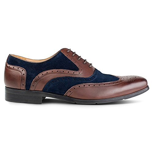 Azor , Herren Schnürhalbschuhe mehrfarbig Brown/Blue 40