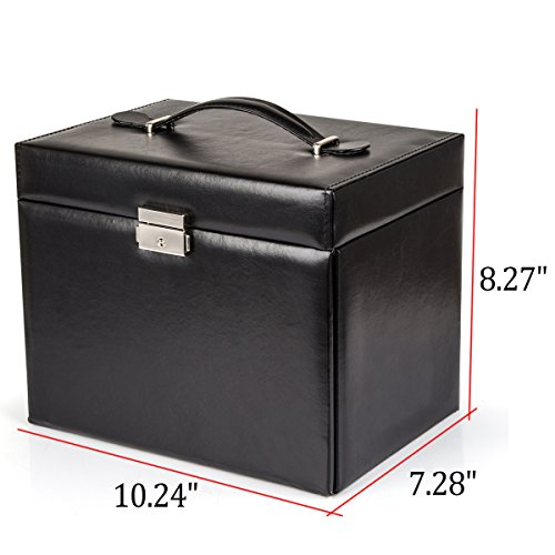 Black Leather Jewelry Box Travel Case and Lock by Kendal (Image #2)