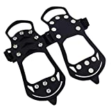 Lljin Non-Slip Snow Cleats Shoes Boots Cover Step Ice Spikes Grips Crampons for Hiking (Black, S)