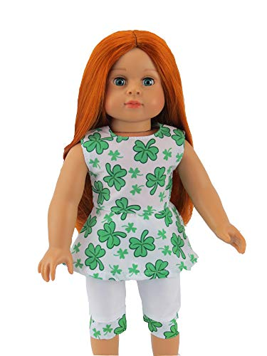 Irish Four Leaf Clover St. Patricks Day Pant Set-Fits 18 American Girl Dolls, Madame Alexander, Our Generation, etc.   18 Inch Doll Clothes
