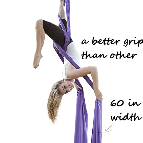 F.Life Aerial Silks for Aerial Acrobatic dance 60in wide (10 yards) with the Equipment ,Guide (lavendar)