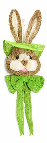 (Rustic Spring Bunny Head Sisal and Burlap Hanging Wall Decoration (Green))