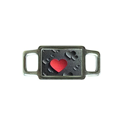 Paracord Planet Rectangle Heart Charms - Assorted Styles & Colors - Perfect For Paracord Bracelet, Necklace (Red Heart on Black Background)