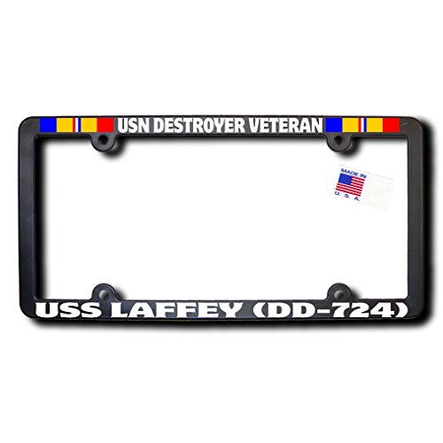 USN Destroyer Veteran USS LAFFEY (DD-724) License Frame w/REFLECTIVE TEXT and Combat Action Ribbons
