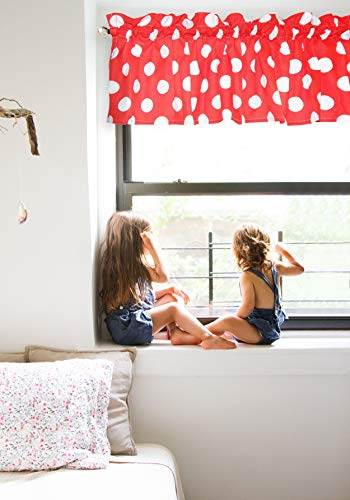 Crabtree Collection Curtain Valance for Windows Elegant Red Polka Dot (16 x 60) ...