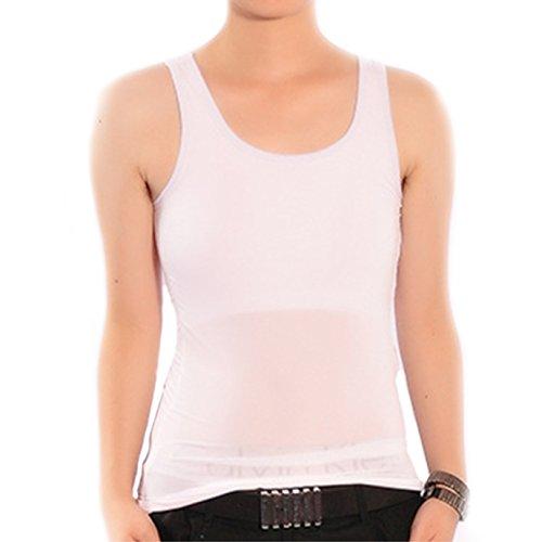 BaronHong Women Lesbian Tomboy Summer Underwear Smooth Cool Mesh Tank Top Vest Chest Binder(white,XL)
