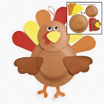 Amazon Com Set Of 12 Paper Plate Turkey Craft Kit Crafts