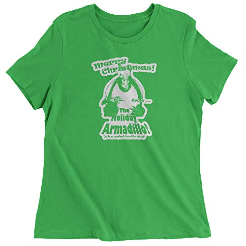 FerociTees Womens Holiday Armadillo Merry Christmas T-Shirt Medium Kelly Green]()
