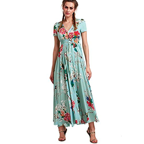 Caopixx Beach Dress, Women V-Neck Button Floral Summer Tassels Flowy Beach Long Dress (Asia Size L, Green) (Button Dress Belted Strap)