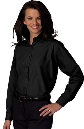 (Edwards Garment Women's Long Sleeve Value Broadcloth Shirt, BLACK, Medium)