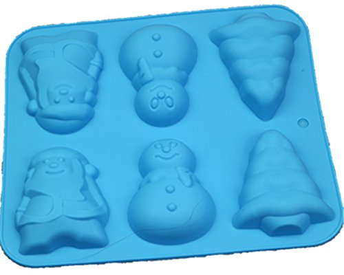 Meao Non Stick Silicone Baking Molds for Cake, Muffin, Chocolate, Jelly and Candy - Christmas Series (Santa Claus, Snowman and Christmas Tree)