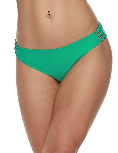 Wlone Sexy Low Waist Bikini Bottom Tie-Side Bikini Briefs (Green)  X-Large 16