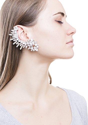 [Happiness Boutique Women Statement Full Ear Cuff in Silver | Ear Crawler Stud Earring nickel free] (Punk Rocker Girl Costume Ideas)