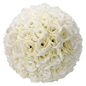 Gentle Women 10 Inch Rose Flower Ball Artificial Romantic for Home Outdoor Wedding Party Centerpieces Decorations (10PCE) 3