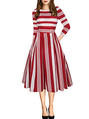 oxiuly Women's Vintage Classic Stripe 3/4 Sleeve Stretchy Party Cocktail with Pockets Swing Dress OX165 (S, Red Stripe 7)