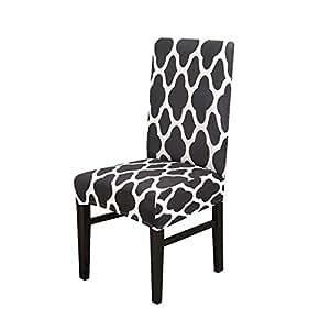 Jian Ya Na - Fundas Protectoras para sillas de Comedor elásticas extraíbles y Lavables, Black Geometry, 1 Unidad: Amazon.es: Hogar