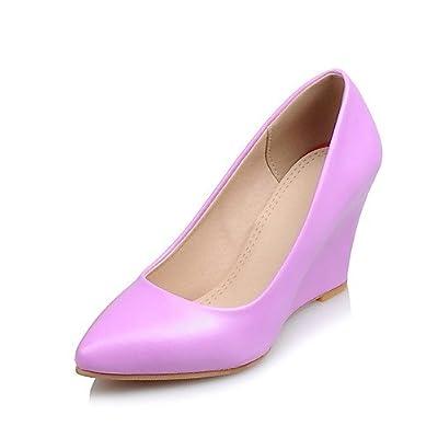 Ggx/femme Chaussures PU été/Bout Pointu talons Bureau & carrière/décontracté Talon compensé bien d'autres Rose/violet/blanc/beige
