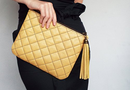 Handmade Quilted Handbags - Leather clutch bag yellow. Evening clutch purse. Quilted leather clutch handbag.